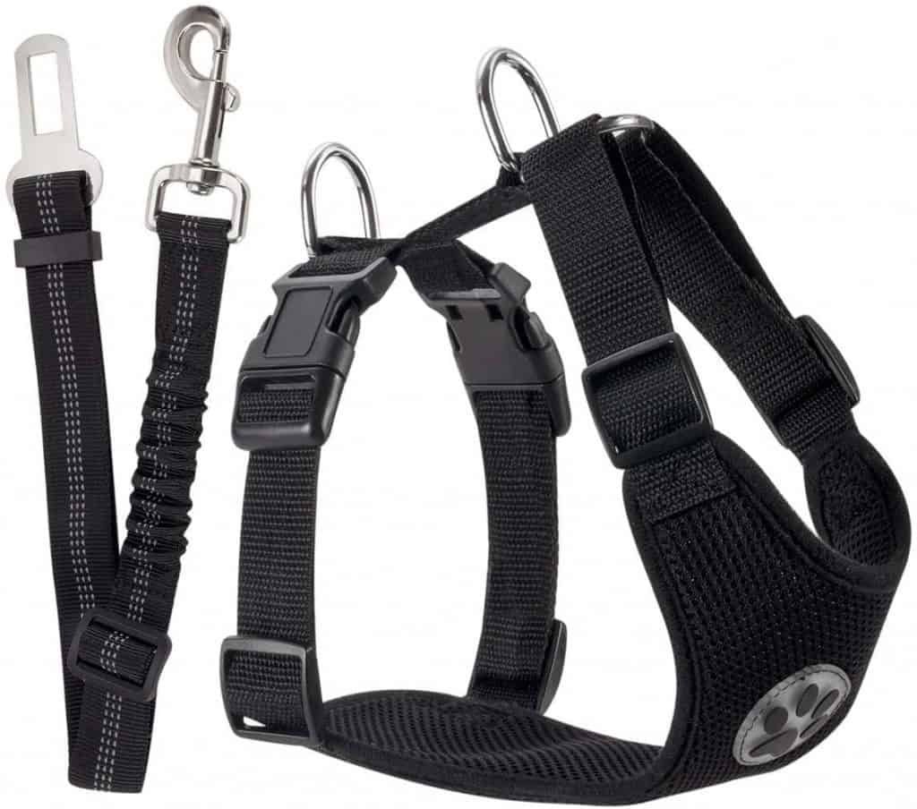 SlowTon Dog Car Harness Seatbelt Set