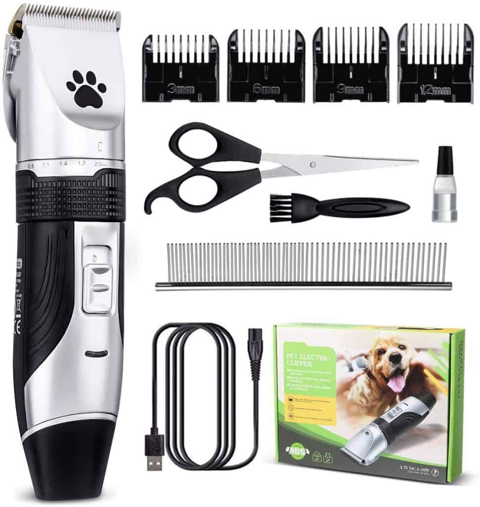Focuspet Rechargeable Cordless Low Noise Dog Grooming Clippers Kit