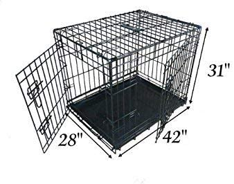 Ellie-Bo Dog Puppy Cage Folding 2 Door Crate 42 Inch